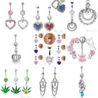 Women Navel Belly Ring Heart Rhinestone Bar Barbell Body Piercing Jewelry Sigly