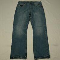 American Eagle 33 x 32 Relaxed Medium Wash Distressed Denim Jeans