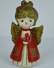 Angel Holiday Figure Retro Paper Mache Vtg Xmas Girl 7.5in Darling Red Bird Gold