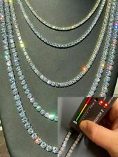 Tennis Chain Real Single Row ICED Necklace MOISSANITE PASSES DIAMOND TEST 3-7mm