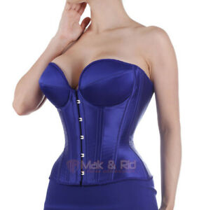 Women's Fully Underwired Steel Boned Overbust Cup Satin Sexy Corset Bustier M17