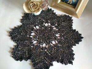 Black shiny srochet doily Lace tablecloth Handmade table cover  Festival decor