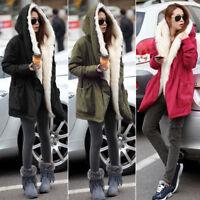 UK Women Winter Casual Warm Hooded Down jacket Parka Ladies Thicken Coat outwear