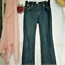Izod high waisted dark wash mom jeans classic fit bootcut womens size 8 S short