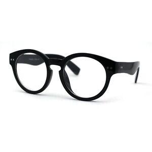 Trendy Retro Italian Fashion Clear Lens Keyhole Shape Plastic Frame Eye Glasses