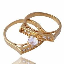 Womens Engagement & Wedding Ring Set Size 7 Clear Crystal yellow Gold filled