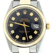 Mens Rolex Datejust 2tone Yellow Gold Stainless Steel Watch Black Diamond Dial