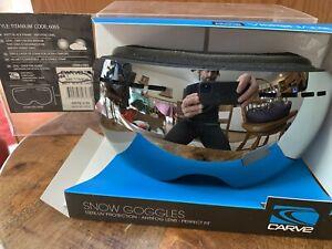 carve titanium matte black silver mirror otg large ski goggles