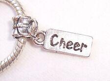 Cheer Tag Cheerleader Sports Word Dangle Bead for Silver European Charm Bracelet