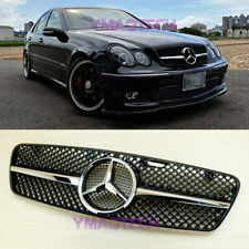 Gloss Black Front Grill For Mercedes-Benz C-Class W203 01-07 C200 C240 C280 4DR