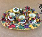 Decorative Miniature Tea Set Fruits & Red Bow Ribbon Design 10 Piece