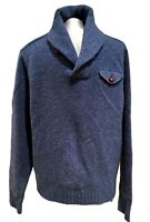 RUGBY RALPH LAUREN MEN'S BLUE SHAWL COLLAR WOOL SWEATER, L, $395