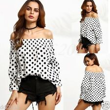 Women Sexy Polka Dot Off The Shoulder Long Sleeve T-shirt Tops Cotton Blouse