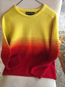 vintage 70s DEMETRE ORANGE YELLOW Red STRIPED WOOL PULL OVER SWEATER