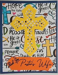 Handcrafted Greeting Card- Thank You - Pastor's Wife - Cross