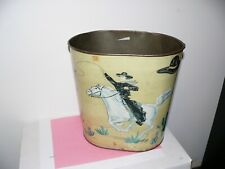 1950's Hopalong Cassidy Tin Waste Can By Harvell With County Western Cowgirl
