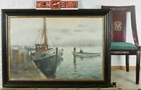 Signed Dahl Oil Painting Antique Ships Port 41 11/16x29 7/8in Jetty Sea Sea