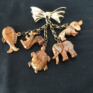 Vintage Gold Bow & Hanging Animals  Brooch #5490