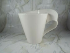Villeroy & Boch 1748 White Luxembourg New Wave Twisted Handle Coffee Cup Mug EUC