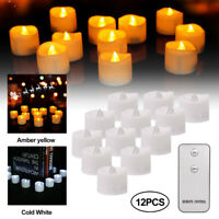 24/12x Led Tea Lights Candles with Remote Controlled Battery Operated Flickering