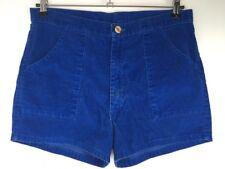 VTG Solid Dark Blue Corduroy High Waisted Shorts Oversized Front Pockets Sz M