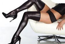 BAS SEXY VINYL WETLOOK CUIR NOIR ROUGE GUETRES TENUE GOGO CLUBWEAR LIBERTINE HOT