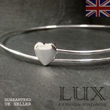 """925 Sterling Silver 8"""" Adjustable Elegant Heart Modern Bangle Bracelet Gift"""