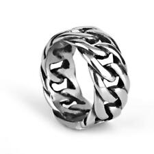 Gothic Punk Men's Vintage Stainless Steel Twist Curb Chain Totem Finger Ring