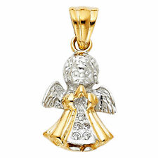 Solid 14K Yellow White Gold Two Tone Baby Angel Praying Charm Pendant