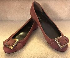 BARNEYS NEW YORK Womens 36 Wine Leather Buckle Toe Ballet Flat Loafers New