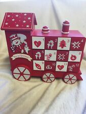Premier Wooden Santa Train Advent Calendar 24cm Tall. Drawer Style - 734