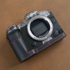VR Handmade Genuine Leather Half Case for Canon EOS R5 R6 Black Red Stitch