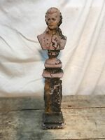 Vintage Cement Bust Statue Mozart 1967 ART 14IN TALL FIGURINE DISTRESSED