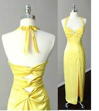 Pin Up Rockabilly Vintage Yellow Halter Long Sheath Party Satin Dress