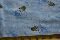 """By 1/2 Yd, 40"""" Wide, Cinderella on Blue Flannel Quilt Fabric, Disney, N4763"""