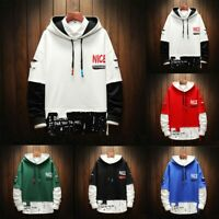 Men False Two Pieces Splicing Button Pullover Long Sleeve Hooded Sweatshirt Tops