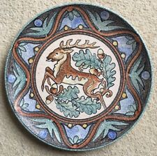 "Vintage 12"" stag/deer hand-painted decorative plate - signed 'S' Sanguino, Spain"