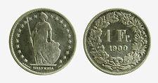 pcc2099_10)  Svizzera Switzerland 1 Franco Franc 1900 B Helvetia MB CLEANED