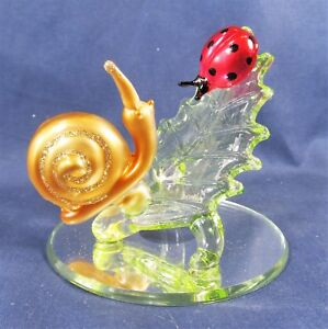 Snail & Ladybug on Leaf Hand Blown Glass Figurine on Mirror Base Nature Decor