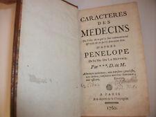 Médecine ancienne Caractères des médecins 1760