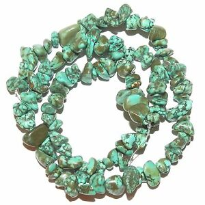 "NG2459 Blue-Green Turquoise Medium 8mm - 14mm Magnesite Gemstone Chip Beads 16"""