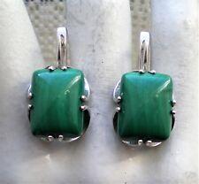 Large Russian Russia Sterling Silver 925 Malachite Secure Lock Earrings 11.3 g.