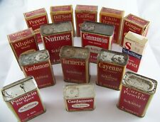 Vintage Schilling Spice Tins and Boxes with Product ~ Lot of 15