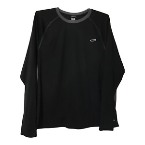 Champion Mens XL T-Shirt Long Sleeve Black Crew Neck Athletic T-Shirt