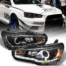 Black 2008-2017 Lancer EVO X Halo Projector Headlights w/Daytime DRL Led Strip
