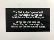 2010 Ryder Cup Detail - 130x70mm Engraved Plaque Signed Golf Flag / Memorabilia
