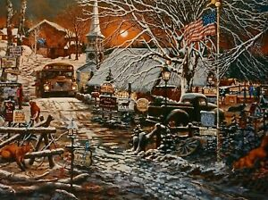 Snowfire Park Country Art Print Schoolbus Snowy Town