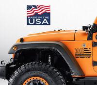 2 US Flag Vinyl Decals fits Jeep wrangler Distressed Grunge American USA hood
