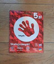 Active sim card heyah  5 PLN Karta SIM Card PrePaid  registered card