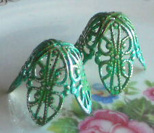 #999T Vintage Bead Caps Filigree Leaf Petal Artsy Patina Large 20mm by 18mm Cone